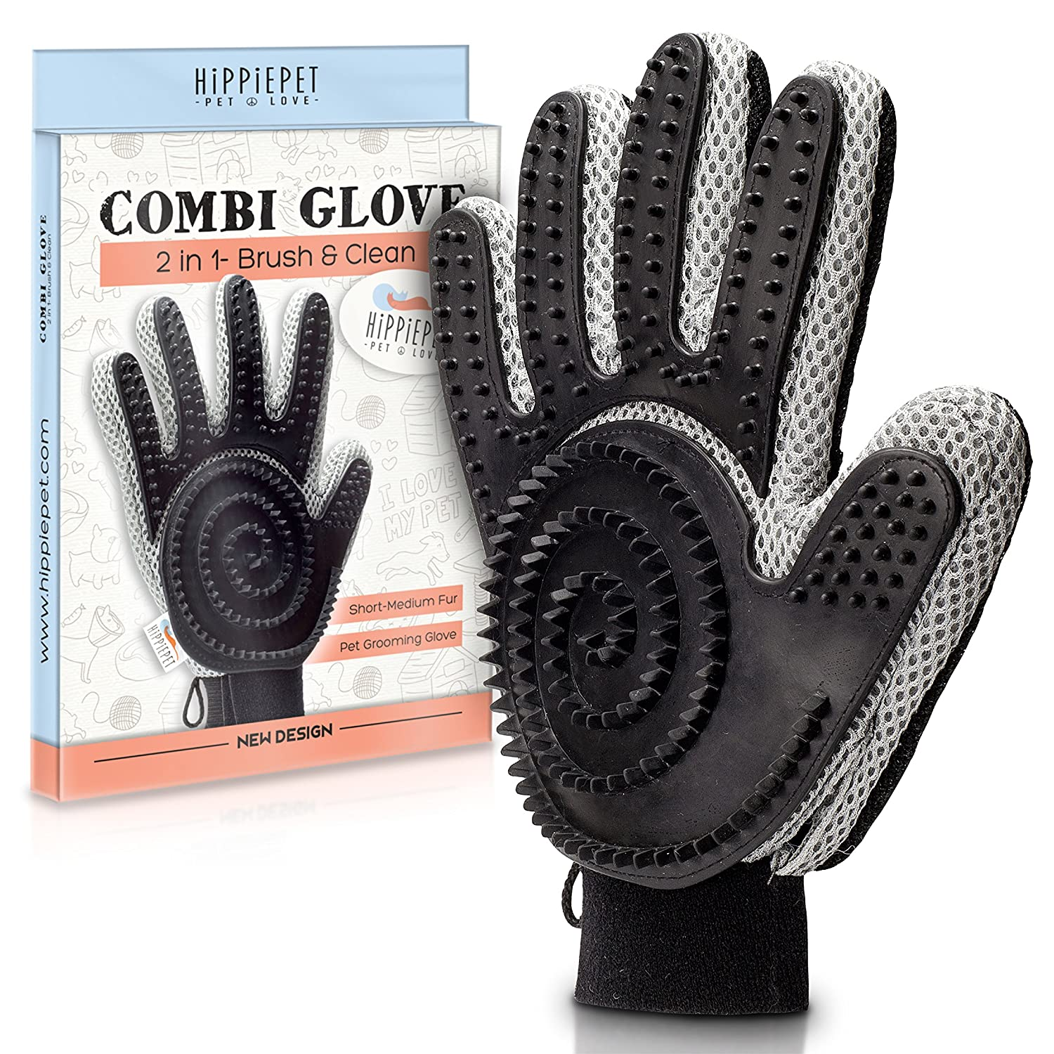 The Combi Glove - Pet Grooming Glove Brush with Dog and Cat Hair Remover from Furniture, Carpets, Clothes, and More for Easy Clean-Up - Double-Sided, De Shedding Silicone Massage Mitt by Hippiepet RONNE BRANDS