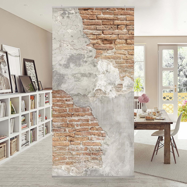 Bilderwelten Raumteiler Shabby Backstein Wand 250x120cm inkl transparenter Halterung