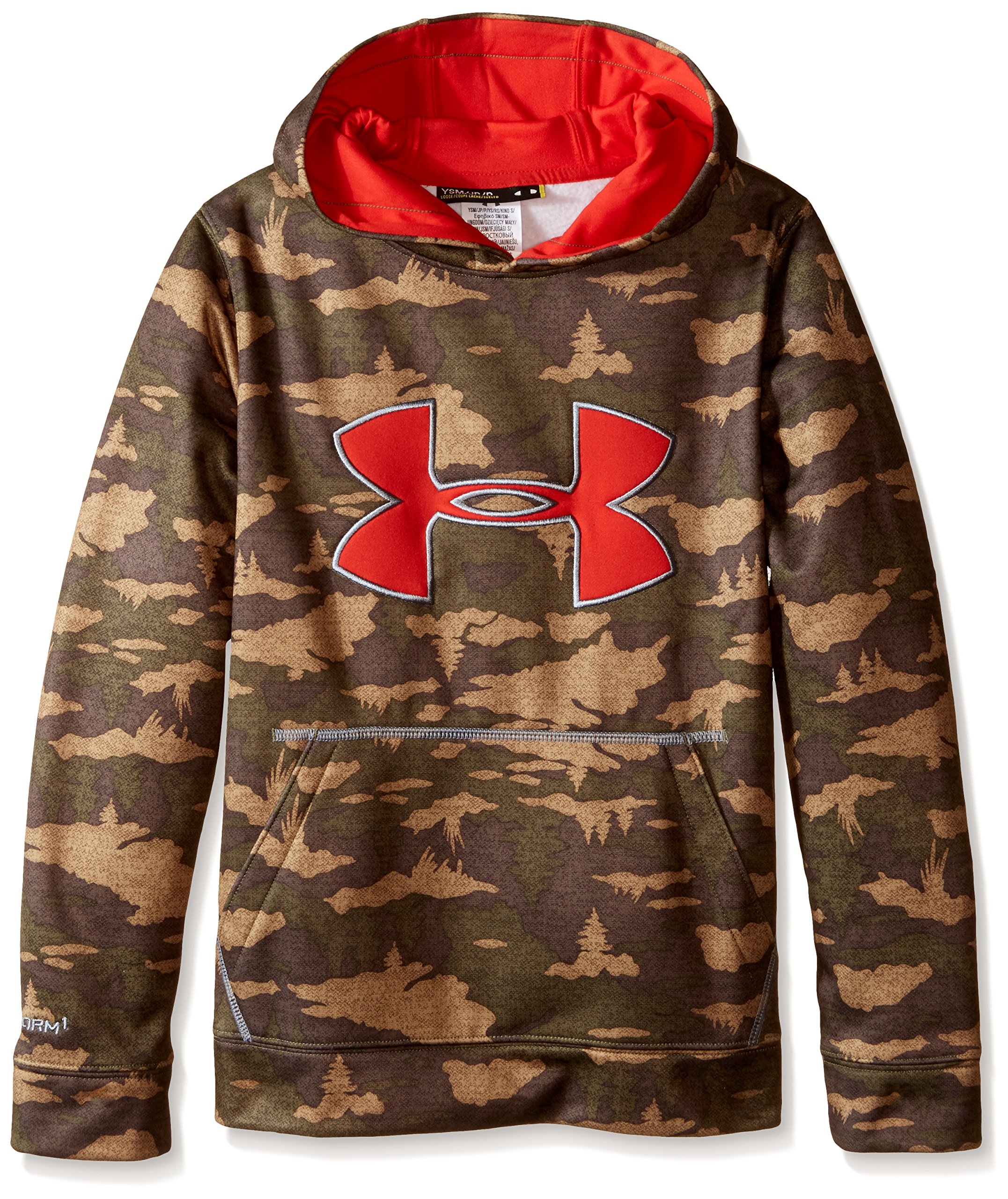 Under Armour Boys' Youth Storm Caliber Hoody, Deer Hide /Risk Red, Youth Large