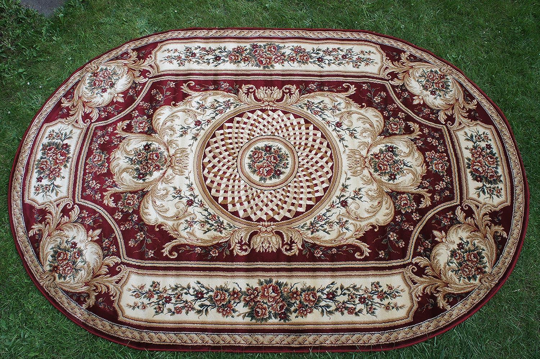 """Blumen. Klassischer Teppich Oval Kollektion /""""Lotos/"""" ov523//210 Rot Beige"""