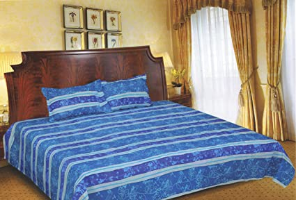Kitex Family Cot Bed Sheets Beautiful Fusion Blue And Cyan Graphic Floral  Print 100% Combed