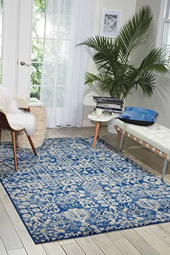 Nourison Somerset Traditional Rustic Vintage Navy Blue Area Rug 5 Feet 3 Inches by 7 Feet 5 Inches, 5 3 x 7 5