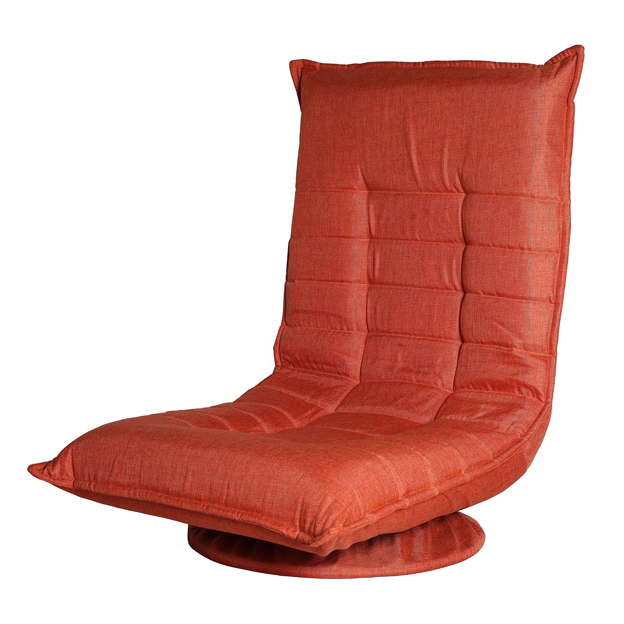 Ollypulse 360 Degree Swivel Folding Floor Sofa Chair for Video Games, Orange