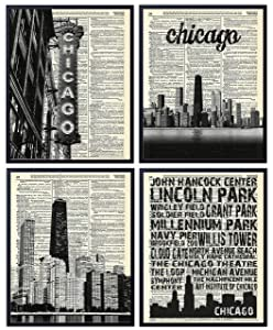 Chicago Skyline and Landmarks (4 Piece Set), Vintage Dictionary Art Print, Wall Art For Home Decor, Illinois Wall Decor for Office 8x10 Inches, Unframed