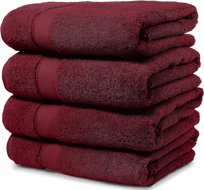 Maura 4 Piece Bath Towel Set. 2017 Premium Quality Turkish Towels. Super Soft, Plush and Highly Absorbent. Set Includes 4 Pieces of Bath Towels (Bath Towel - Set of 4, Burgundy)