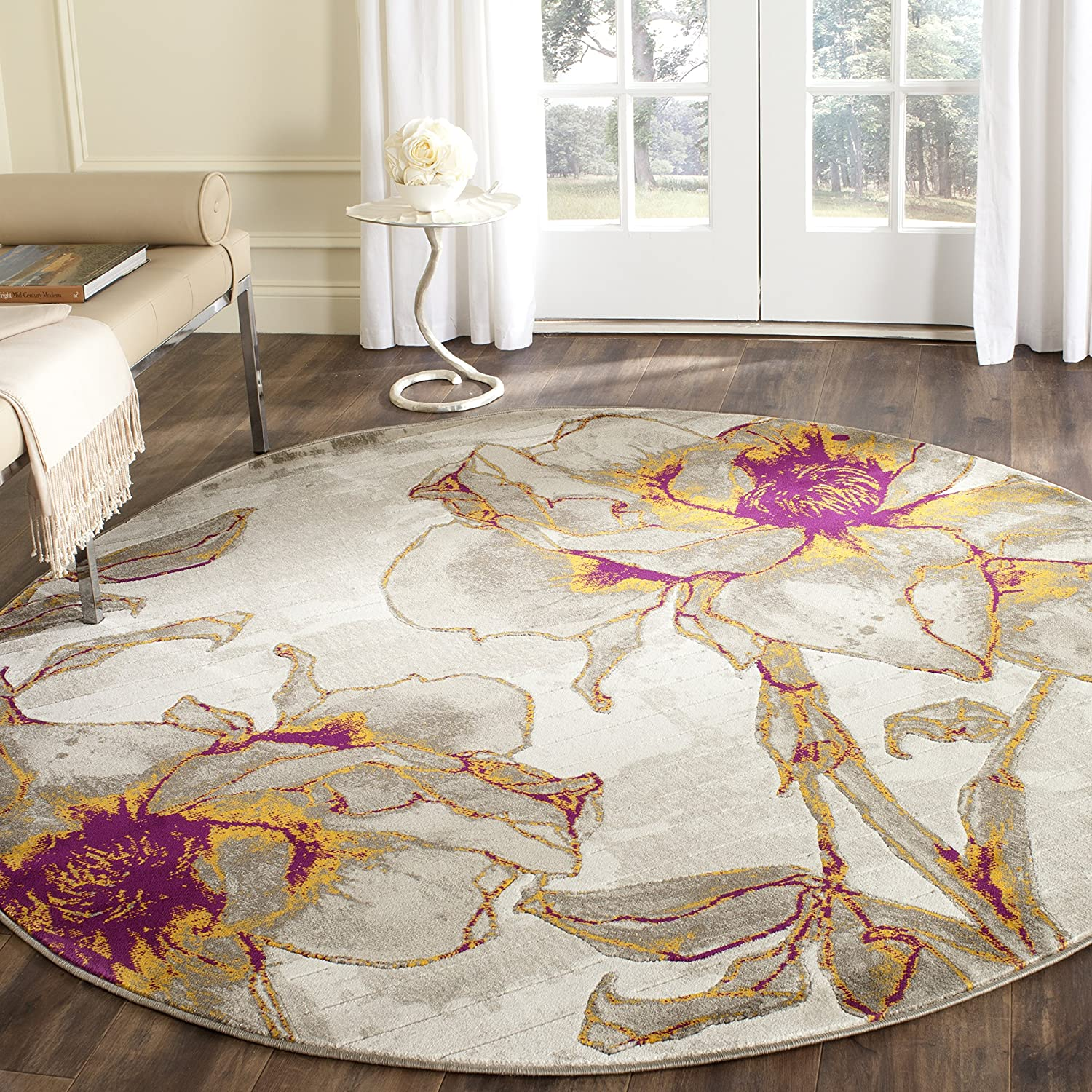Amazon Com Safavieh Porcello Collection Prl7733e Floral Non Shedding Stain Resistant Living Room Bedroom Area Rug 6 7 X Round Ivory Grey Furniture Decor
