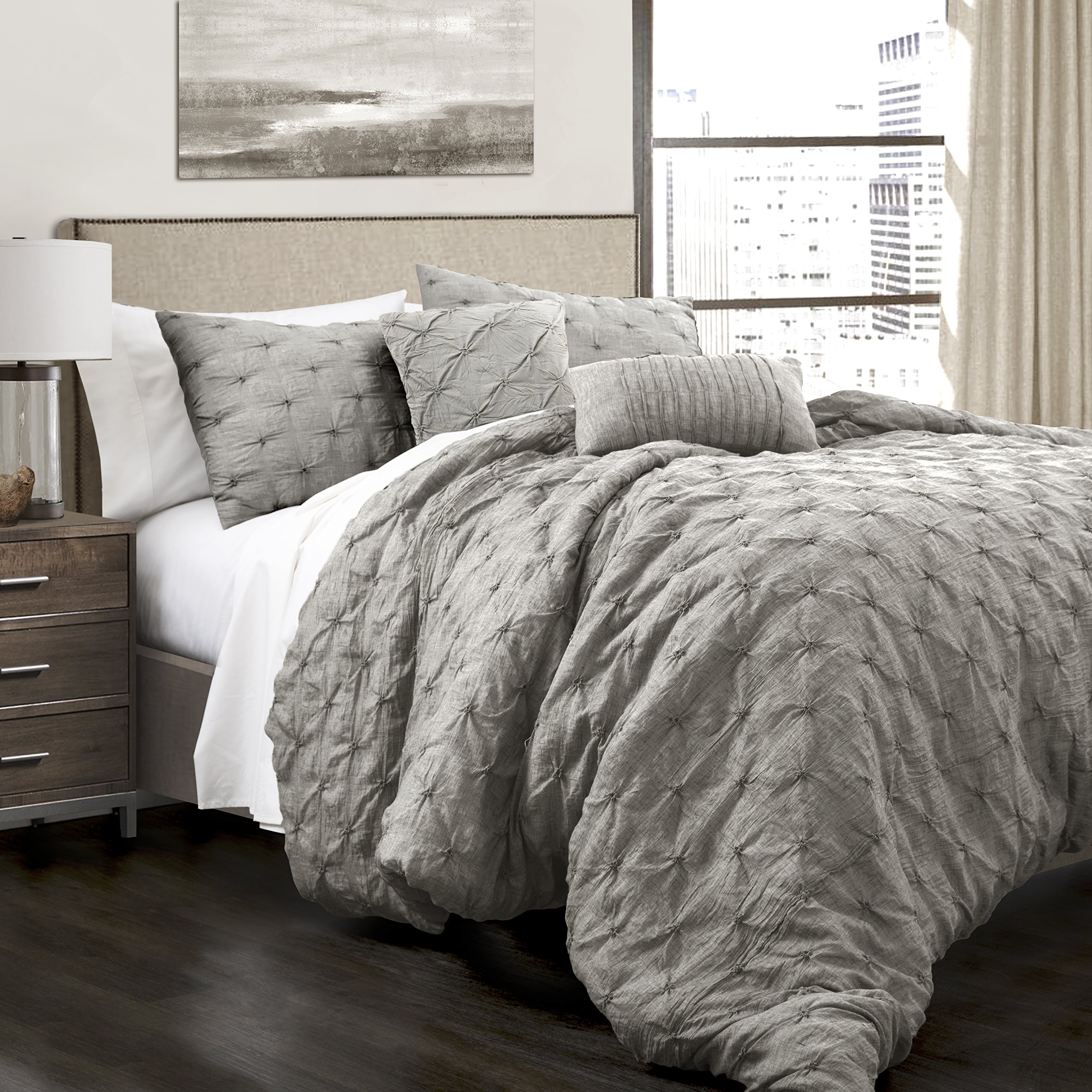 Lush Decor Lush Décor Ravello Pintuck 5 Piece Comforter Set, King, Gray