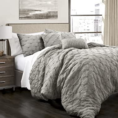 Lush Decor Ravello Shabby Chic Style Pintuck Gray 5 Piece Comforter Set with Pillow Shams Full/Queen