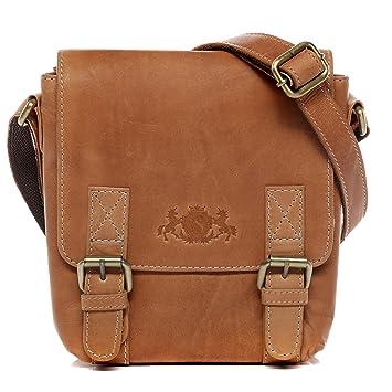 cf2643e4fdbf2 SID   VAIN Umhängetasche Leder KERBY klein Messenger Bag Damen  Schultertasche echte Ledertasche Damentasche beige