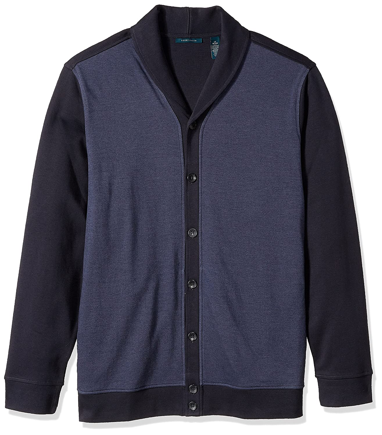 Perry Ellis Men's Big and Tall Solid Texture Shawl Cardigan 4CFK7602