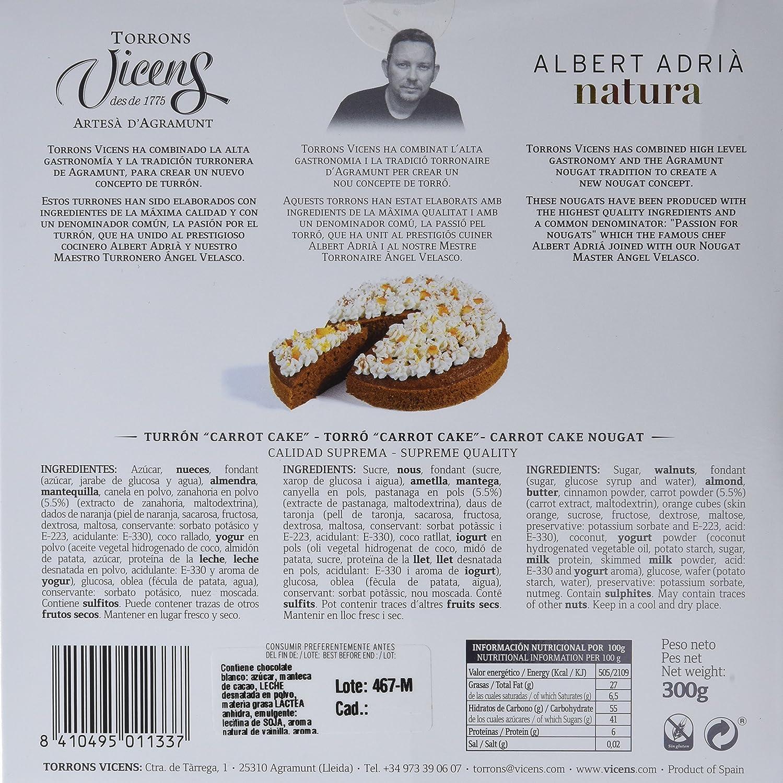 Vicens Turrón Carrot Cake Adrià Natura - 300 gr: Amazon.es: Alimentación y bebidas