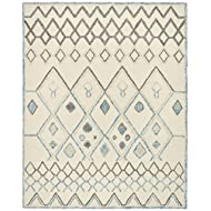 Rivet Geometric Boho Wool Rug, 8' x 10', Cream with Blue