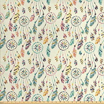 Amazon Com Ambesonne Feather Fabric By The Yard Traditional Tribal