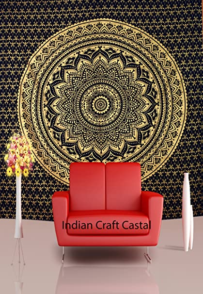 black golden ombre hippie tapestry hippy mandala bohemian tapestries tapestry wall hanging ethnic decorative indian
