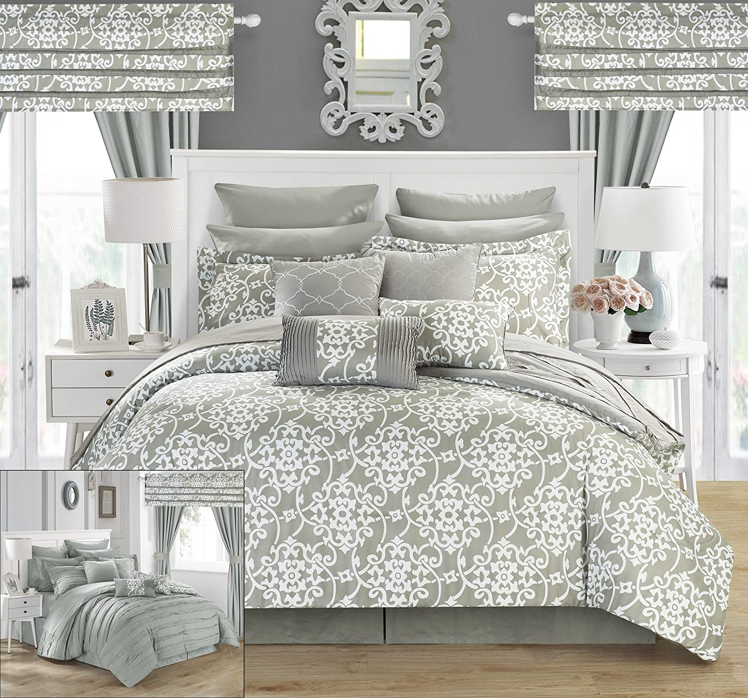 lush king sets ivory serena dp piece comforter set amazon home decor com kitchen