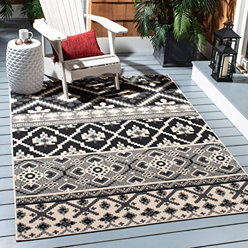 Safavieh Veranda Collection VER097-0421 Black and Beige 5 3 x 7 7 Area Rug, 5 3 x 7 7