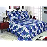 "All for You 3-Piece Reversible Bedspread, Coverlet, Quilt Set-king Size 90"" X 100""-blue patchwork prints"
