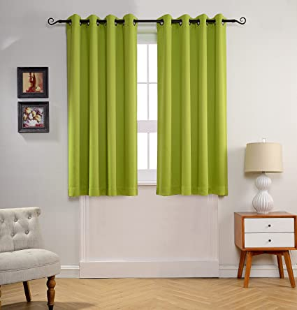 MYSKY HOME Solid Grommet Top Thermal Insulated Window Blackout Curtains For  Nursery Room 52 By 63