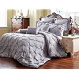 Amazon Price History for:Unique Home 8 Piece Reversible Pinch Pleat Comforter Set Fade Resistant, Wrinkle Free, No Ironing Necessary, Super Soft, Queen, Grey