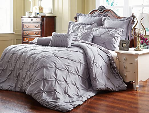 8 Piece Reversible Pinch Pleat Comforter Set Fade Resistant, Wrinkle Free, No Ironing Necessary, Super Soft, Queen, Grey