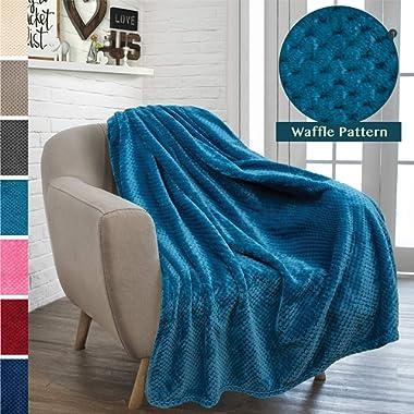 PAVILIA Premium Flannel Fleece Throw Blanket Sofa Couch | Sea Blue Waffle Textured Soft Fuzzy Throw | Warm Cozy Microfiber | Lightweight, All Season Use | 50 x 60 Inches