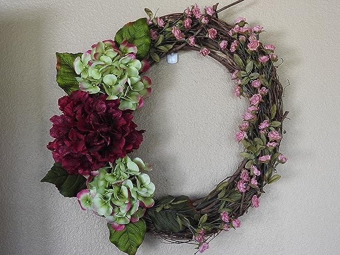 Amazoncom Burgundy Hydrangea Wreath Front door wreath entryway