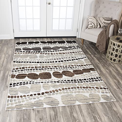 Rizzy Home Xcite Collection Polypropylene Area Rug, 8 x 10 , Ivory Beige Taupe Brown Gray Black Abstract