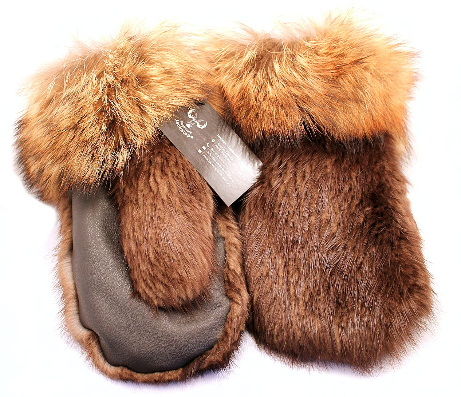 Men's short mittens for winter, real beaver and coyote fur, leather (XL) Fourrure Jackalope