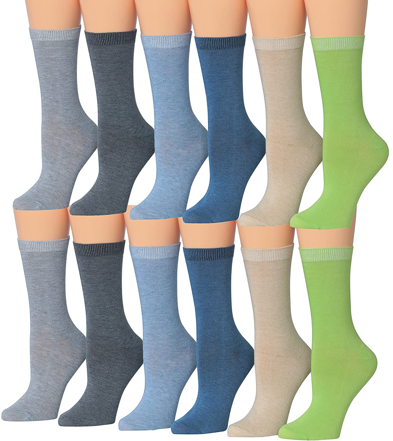 Tipi Toe Women's 12-Pairs Lightweight Solid Colored Crew Socks Solid Black)