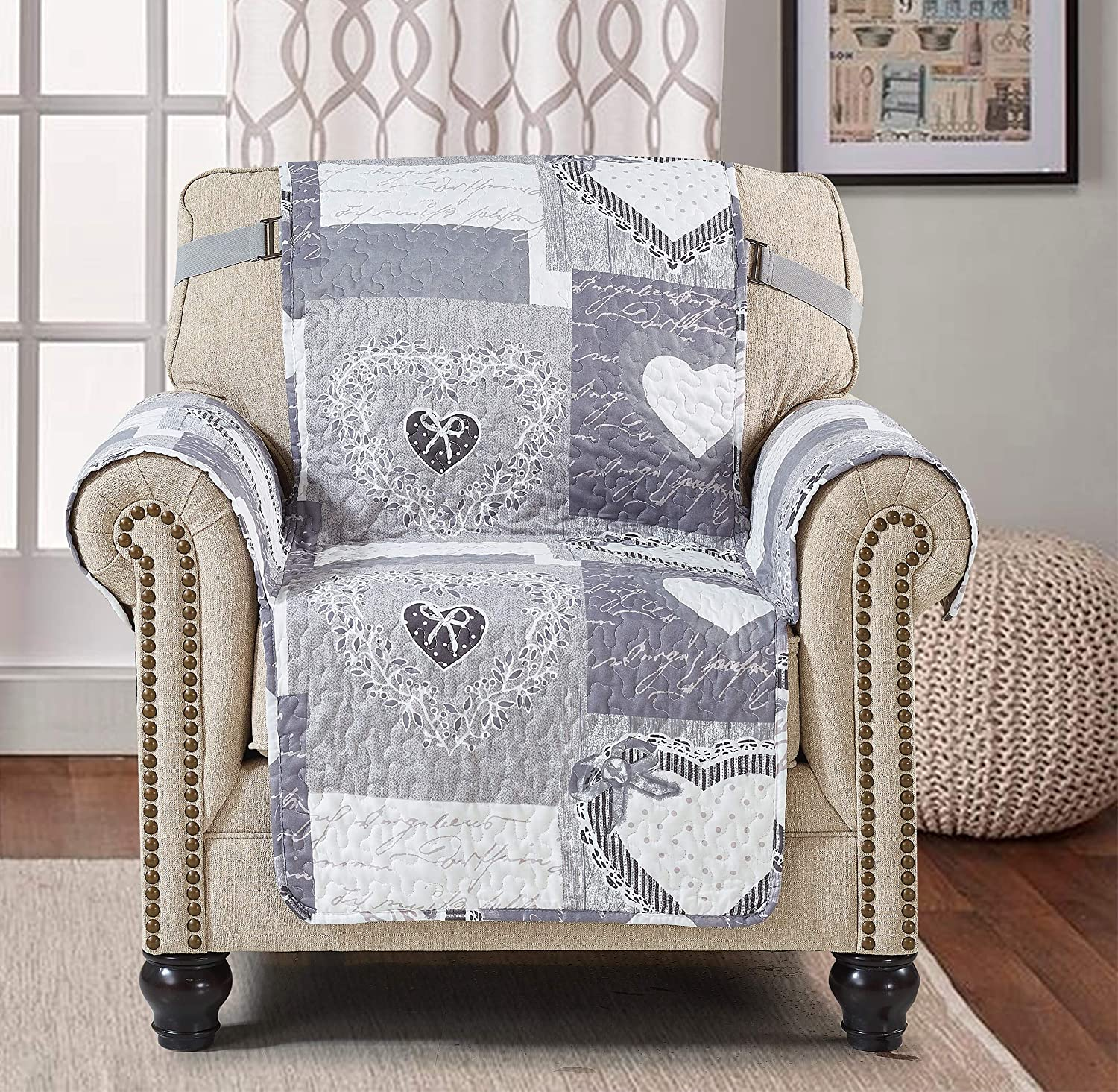 Sofa Chair Protector 23 Inch Patchwork Pet Proof Furniture Cover for Living Room Heart Love Print Reversible Quilted Scroll, Enhanced Strap, Machine Wash Arm Chair Slip Cover Not Leather, Grey/White