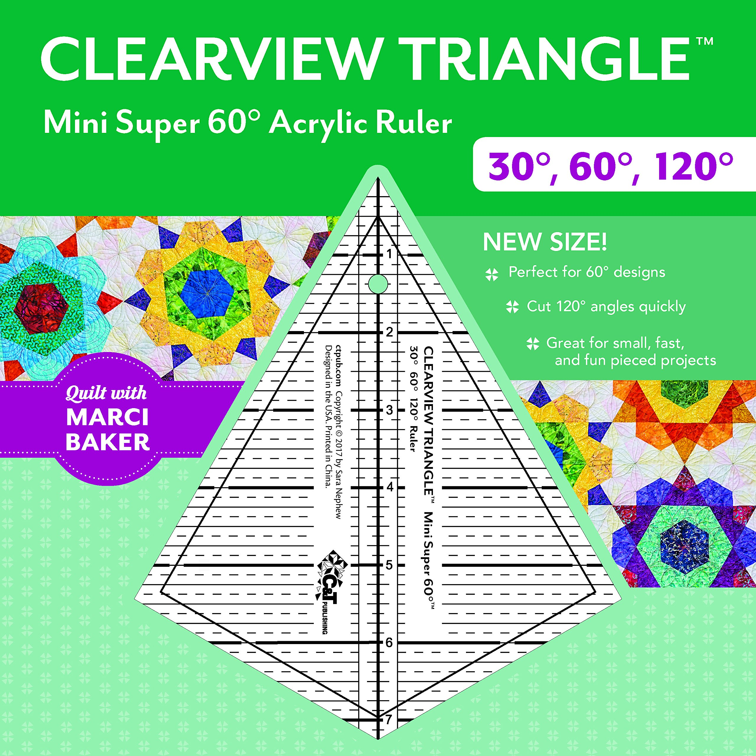 Read Online Clearview Triangle™ Mini Super 60™ Acrylic Ruler: 30 degree, 60 degree, 120 degree PDF