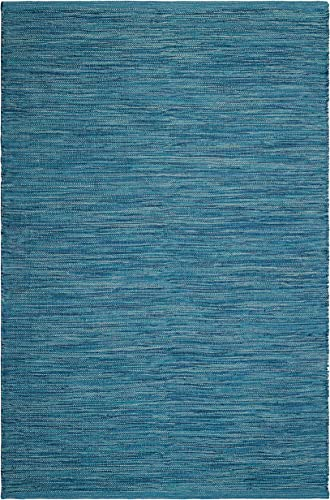 Fab Habitat, Indoor Outdoor Floor Rug – Handwoven, Made from Recycled Plastic Bottles – Cancun Blue 8 x 10