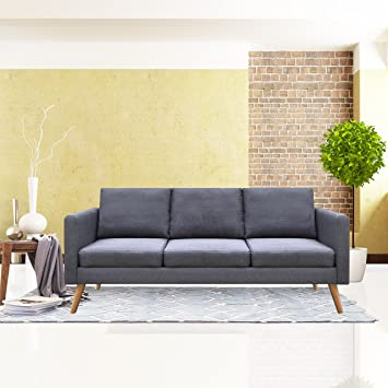 Amazon Cloud Mountain Gray Linen Fabric Sofa Living Room