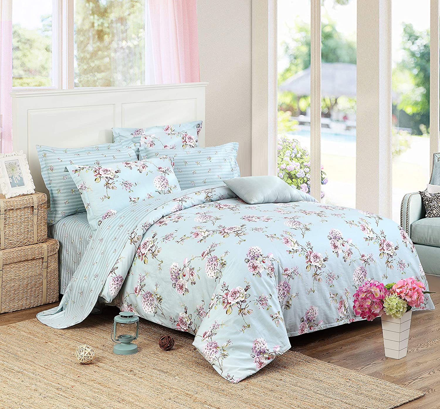 Hydrangea Queen FADFAY Shabby Duvet Cover Sheet Set 7-Pieces Hydrangea Fashionable Flora 100% Cotton Bedding Hypoallergenic,(1 Duvet Cover,1 Fitted Sheet,1 Flat Sheet,2 Standard+2 King Pillowcases) Cal King Size