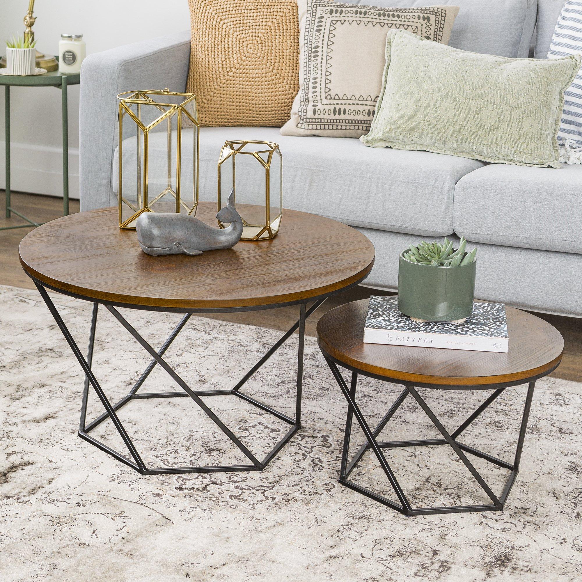 WE Furniture Geometric Wood Nesting Coffee Tables - Oak/Black by WE Furniture (Image #1)