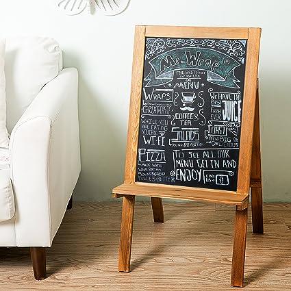Freestanding Wood A Frame Chalkboard Easel, Erasable Chalk Display With  Storage Shelf