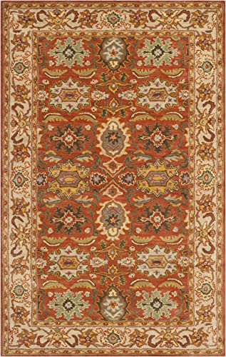 Safavieh Heritage Collection HG734D Handcrafted Traditional Oriental Rust and Beige Wool Area Rug 2' x 3'