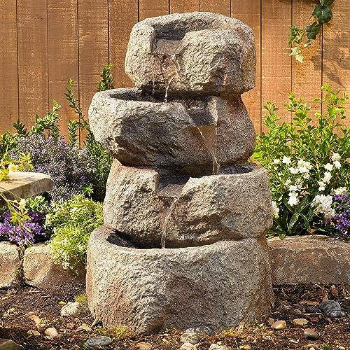 Lamps Plus Glacial Rock Rustic Zen Outdoor Floor Water Fountain