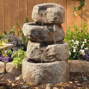 "John Timberland Glacial Rock Zen 30"" High Water Fountain with LED Lights"