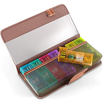 c88a253170af Amazon.com: Pill Case Organizer for Home Travel - Weekly Pill ...