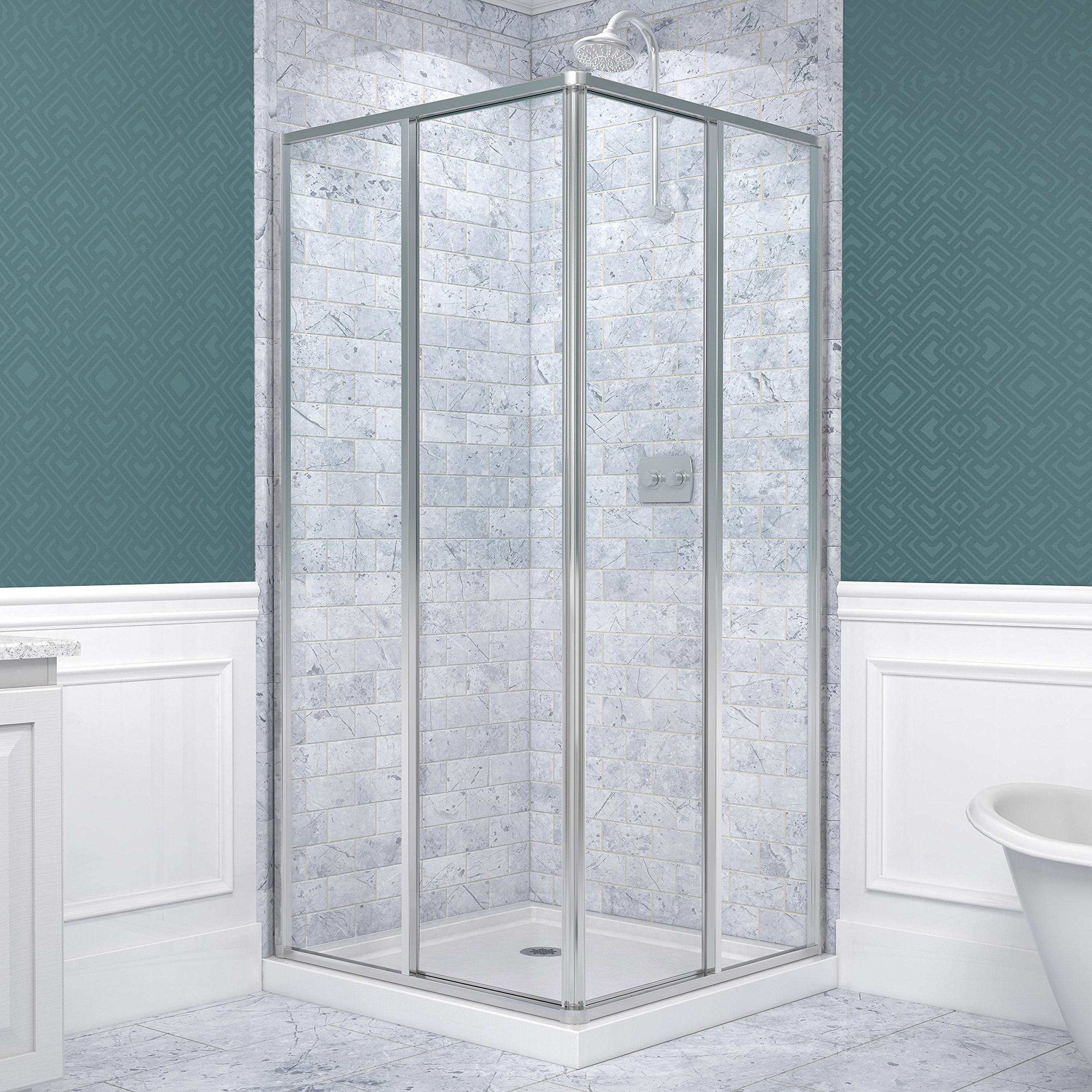 DreamLine Cornerview 34 1/2 in. D x 34 1/2 in. W, Framed Sliding Shower Enclosure, 5/32'' Glass, Chrome Finish by DreamLine