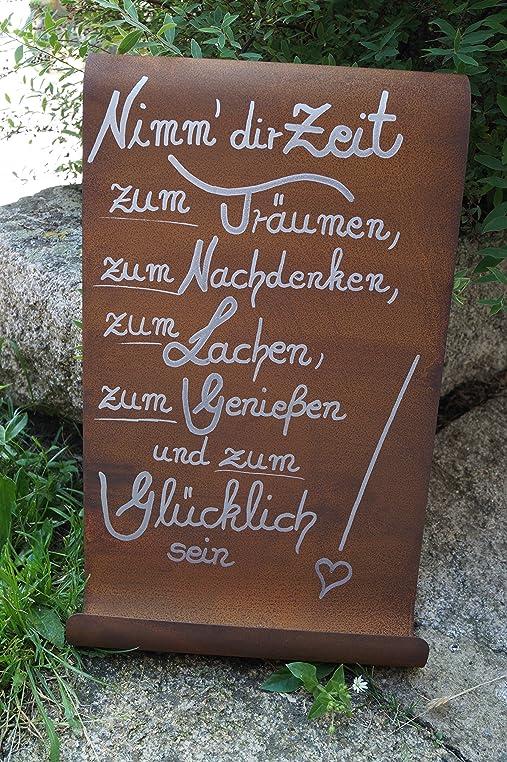 Edelrost Tafel Mit Welle Nimm Dir Zeit Gartendekoration Schild