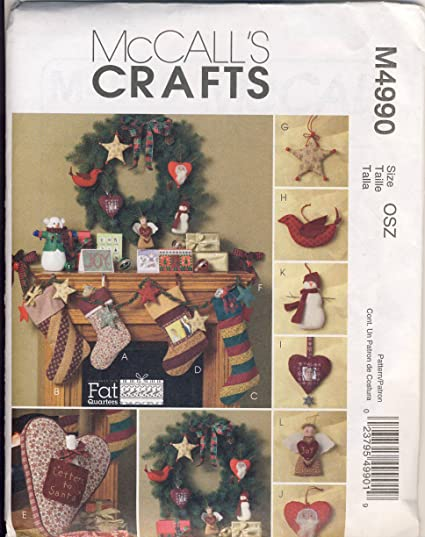 Amazon.com: McCall\'s Crafts Sewing Pattern M4990 Christmas Stockings ...