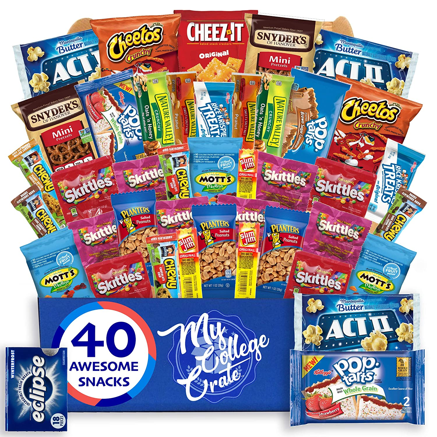 My ?College? Crate - 40 Piece Small ?Care Package - Snack Box Variety Pack for Adults - Bulk Food Box ?with? Candy, Chips, Granola Bars, Nuts, Pop Tarts