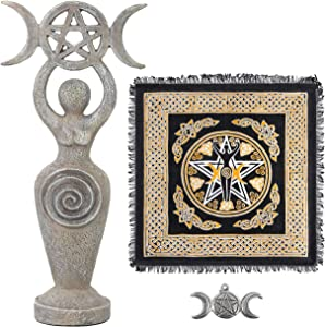 Altar Cloth Goddess Statue Spiral Wiccan Triple Moon Pentagram Pentacle Pendant Altar Supplies Kit