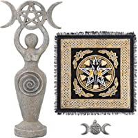 Sarimoire Altar Cloth Goddess Statue Spiral Wiccan Triple Moon Pentagram Pentacle Pendant Altar Supplies Kit