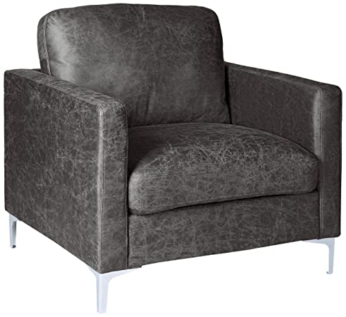 Homelegance Breaux Modern Track Arm Chair with Chrome Legs Accents, Gray