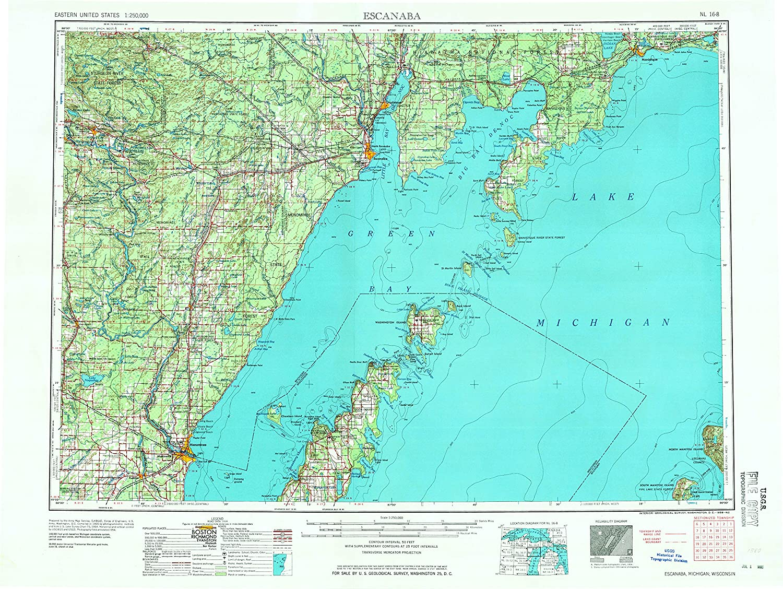 Amazon Com Yellowmaps Escanaba Mi Topo Map 1 250000 Scale