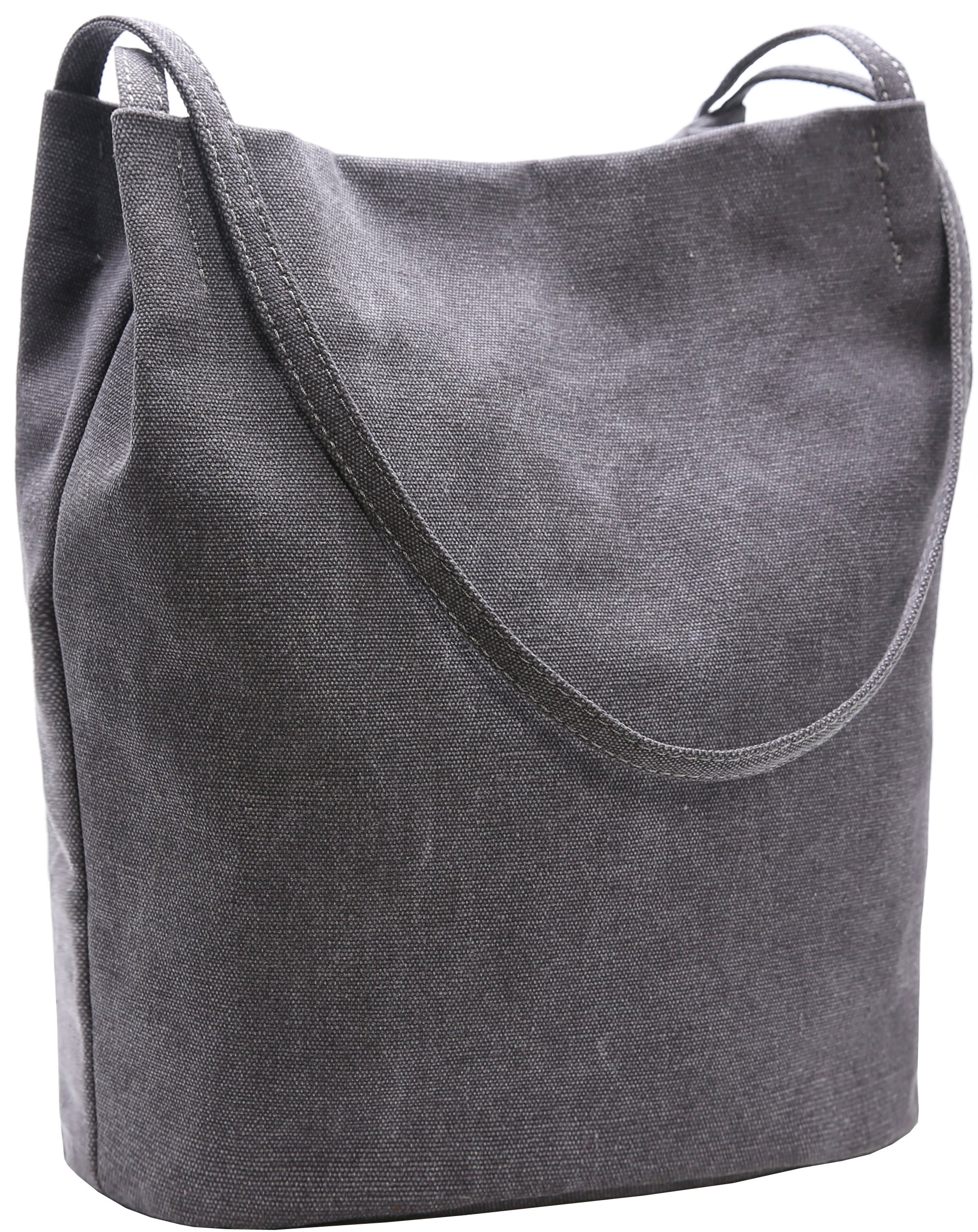 Bucket Bag Iswee Canvas Handbags Shoulder Bag Hobo Casual Tote for Women (Dark Gray)
