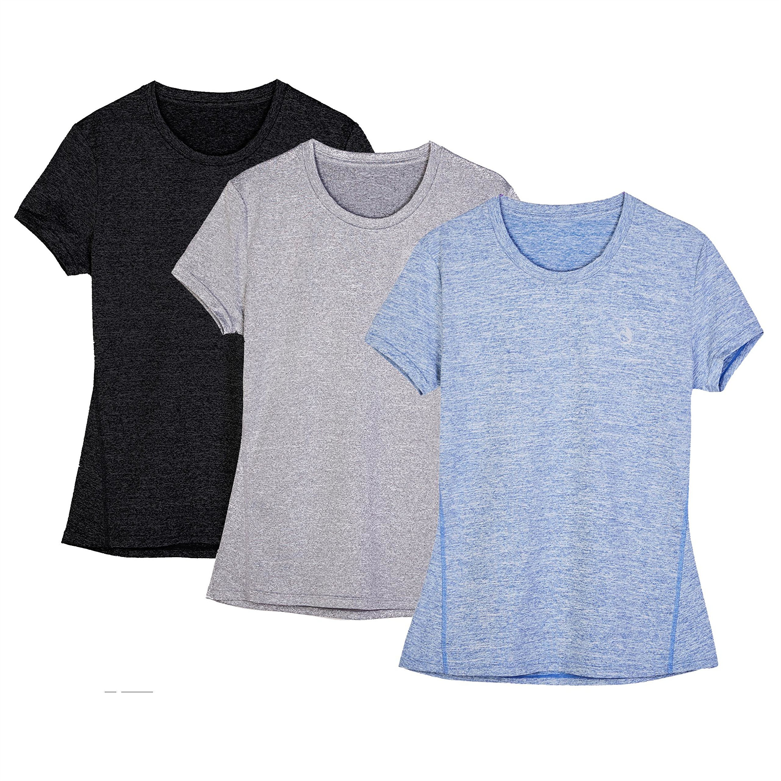 icyzone Women's Ultimate Short-Sleeve Workout Running Yoga Fitness Sports Tshirts (Pack of 3) (M, Black/Granite/Blue)
